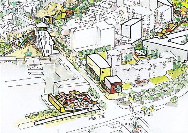 Генплан центра города Корча. Зона 2 – «Коммерческая полоса» между рынком и торговым центром