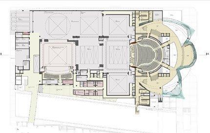 Новое здание Мариинского театра. Проект Э. Мосса. План 1-го яруса