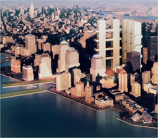 Ч. Гуотми, Р. Майер, П. Айзенман, С. Холл. Конкурсный проект нового Центра мировой торговли в Нью-Йорке. 2003