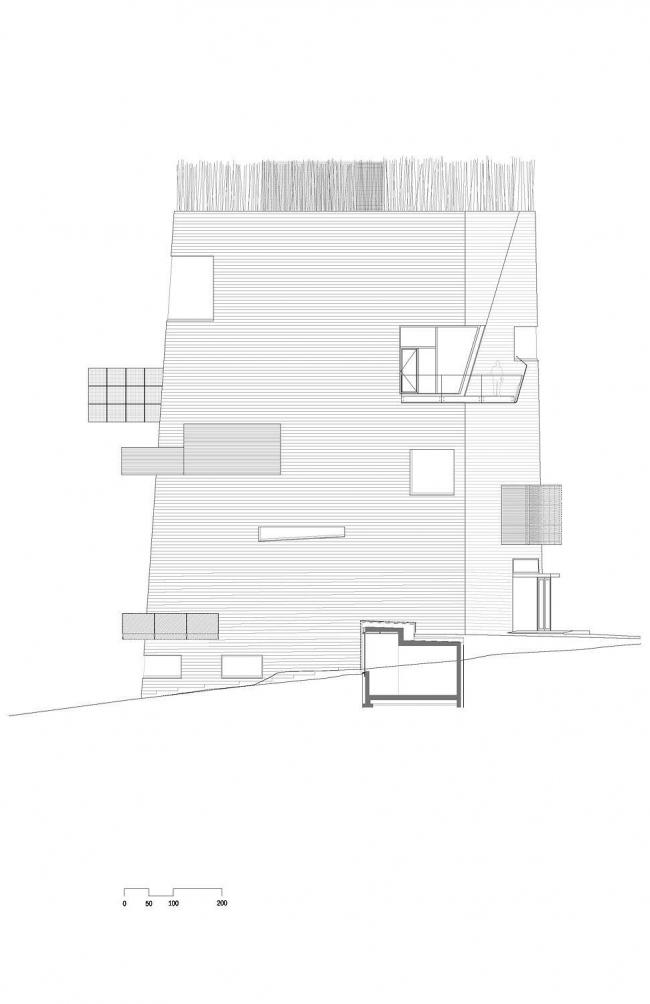 Центр Кнута Гамсуна. Восточный фасад © Steven Holl Architects