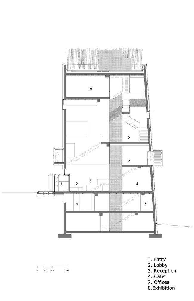 Центр Кнута Гамсуна. Разрез © Steven Holl Architects