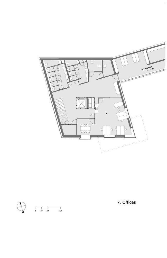 Центр Кнута Гамсуна. План подземного уровня © Steven Holl Architects