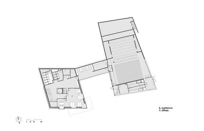Центр Кнута Гамсуна. План подземного уровня с аудиторией © Steven Holl Architects