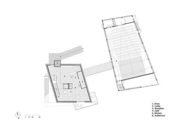 Центр Кнута Гамсуна. План 1-го уровня с аудиторией © Steven Holl Architects