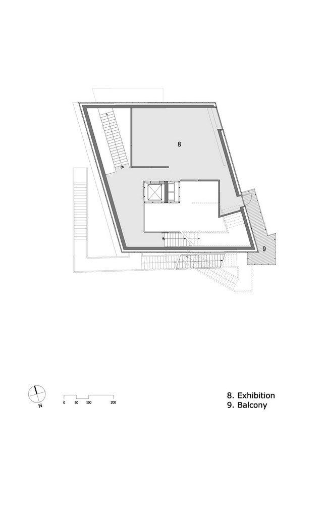 Центр Кнута Гамсуна. План 3-го уровня © Steven Holl Architects