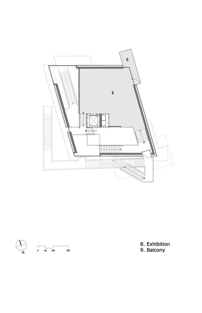 Центр Кнута Гамсуна. План 4-го уровня © Steven Holl Architects