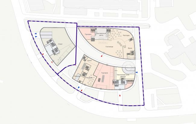 Многофункциональный гостинично-торговый комплекс с административной частью. Вариант 1