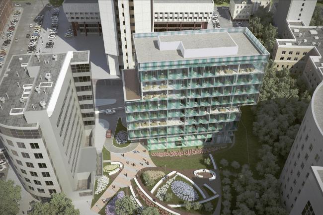 Реконструкция офисного здания с пристройкой и надстройкой здания на улице Гиляровского © ABD architects