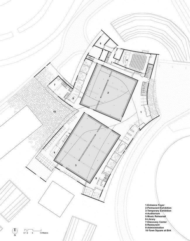 Музей современного искусства Хернинга – HEART. План 1-го этажа © Steven Holl Architects