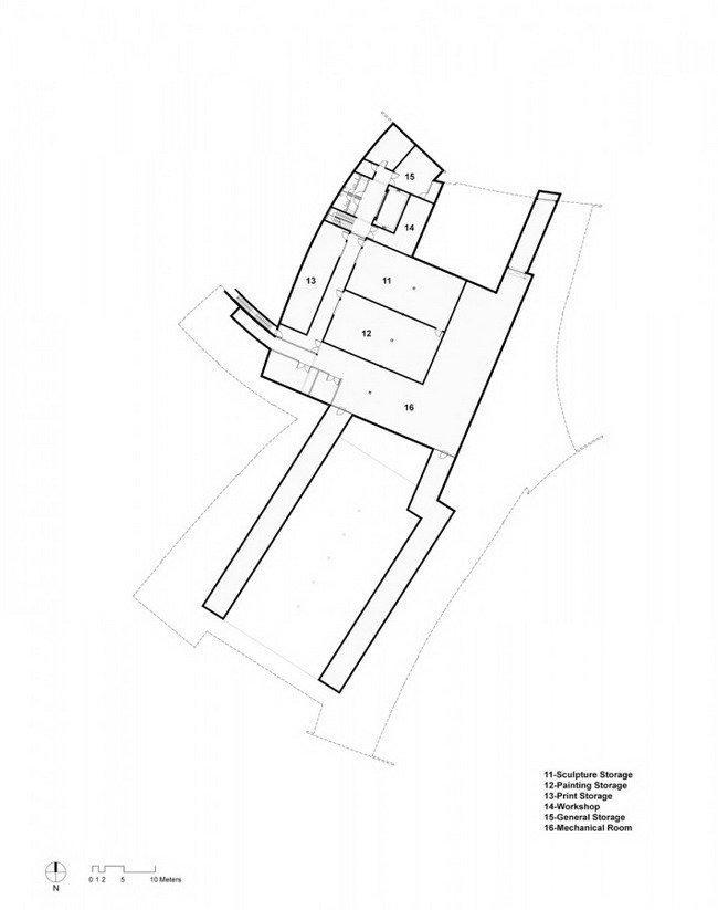 Музей современного искусства Хернинга – HEART. План подвального этажа © Steven Holl Architects