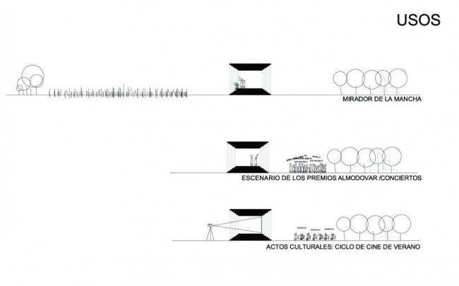 Памятник Педро Альмадовару. Варианты практического использования (как сцена, как кинозал...) © Enproyecto arquitectura