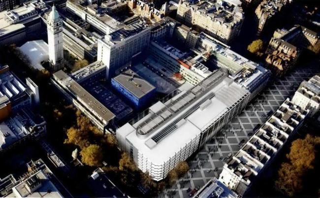Империал-Колледж - проект расширения. Новый корпус (в нижней части иллюстрации) в комплексе колледжа
