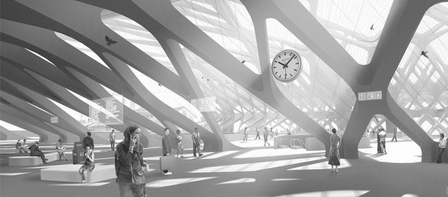 Конкорс с многофункциональной инфраструктурой. Автор - Дарья Ковалева. Группа Анны Боковой