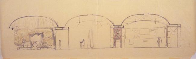 Художественный музей Кимбелл, Форт-Уорт, Техас, Строительство 1969-72 гг. Схематическое сечение сквозь галереи и двор, 27 сентября 1967 г. Photo © Архив Луиса Кана, Пенсильванский университет, Филадельфия