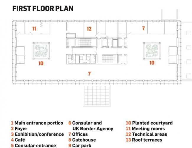 Посольство Великобритании в Польше. Второй этаж © Tony Fretton Architects