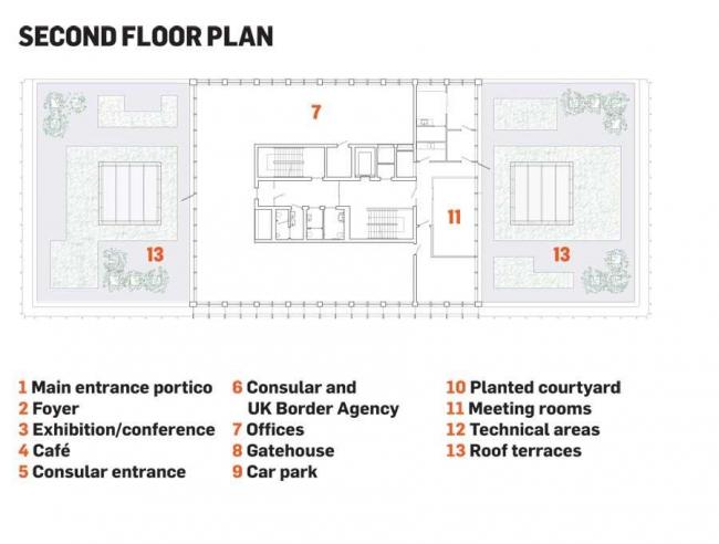 Посольство Великобритании в Польше. Третий этаж © Tony Fretton Architects