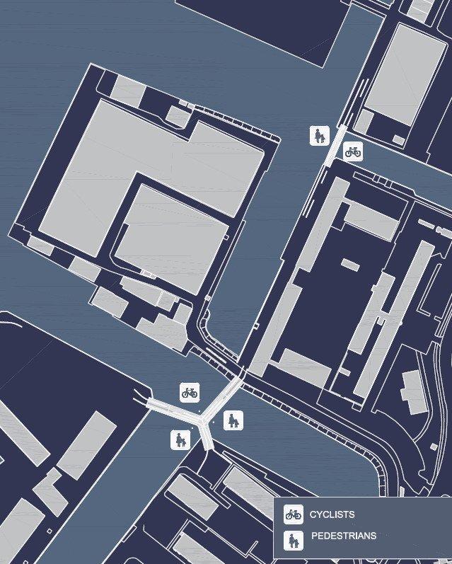 Мосты для пешеходов и велосипедистов через каналы Кристиансхаун и Транграун © Dietmar Feichtinger Architectes