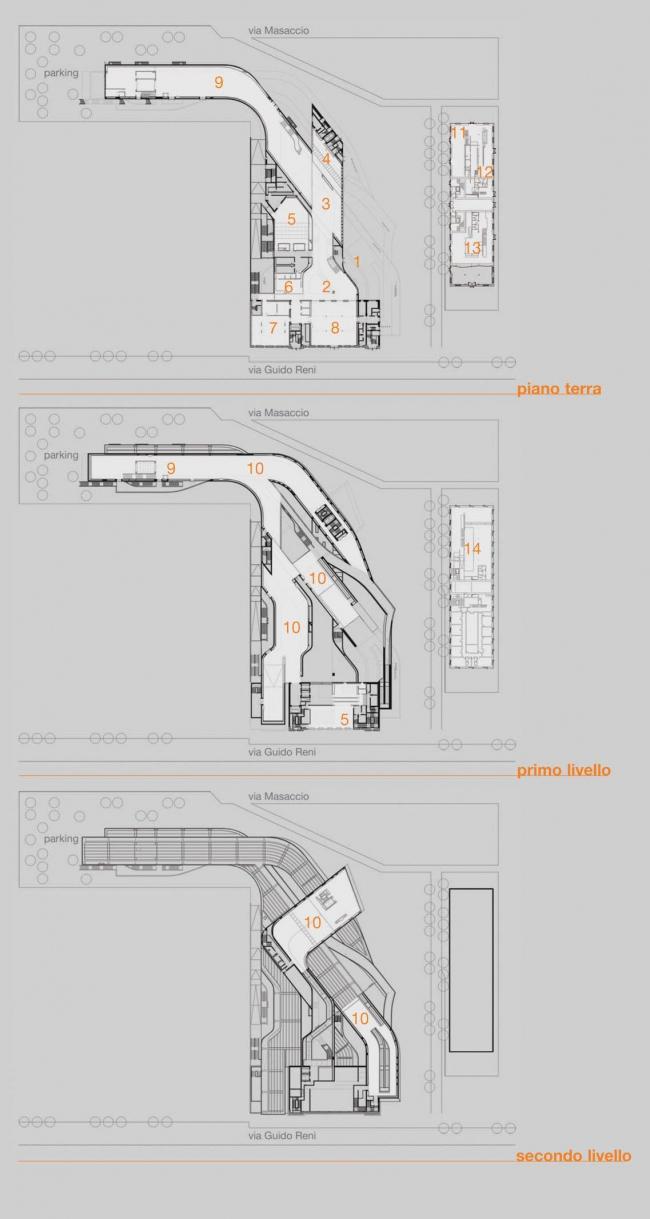 MAXXI – Национальный музей искусства XXI века. Планы этажей ©  Zaha Hadid Architects