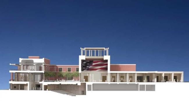 Президентский центр Дж. У. Буша. Разрез ©  Robert A.M. Stern Architects