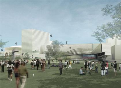 1 - парк, 2 - многофункциональный зал, 3 - пешеходный мост
