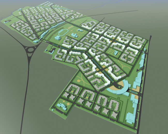 Комплексная жилая застройка в г. Пушкин. Генеральный план, 2007 © Архитектуриум