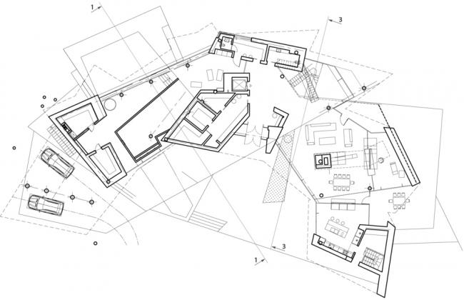 План 1-го этажа. Частный жилой дом в поселке Малаховка