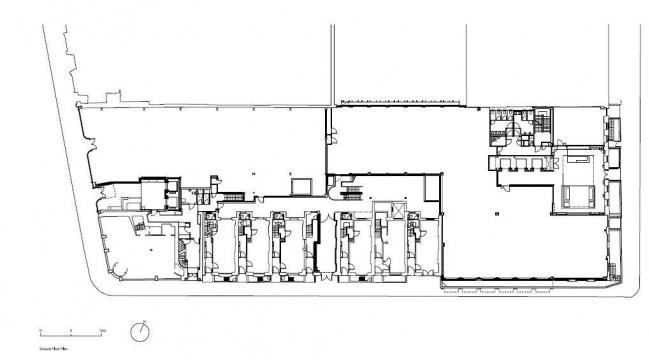 Офисный комплекс 50 New Bond Street. План 1-го этажа © Eric Parry Architects
