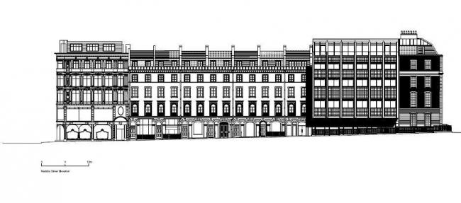 Офисный комплекс 50 New Bond Street. Фасад по Мэддокс-Стрит © Eric Parry Architects