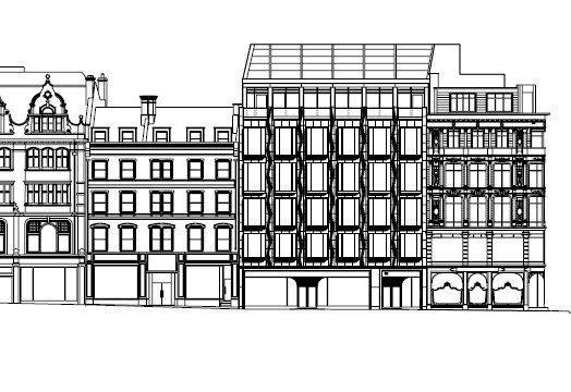 Офисный комплекс 50 New Bond Street. Фасад по Сейнт-Джордж-Стрит © Eric Parry Architects