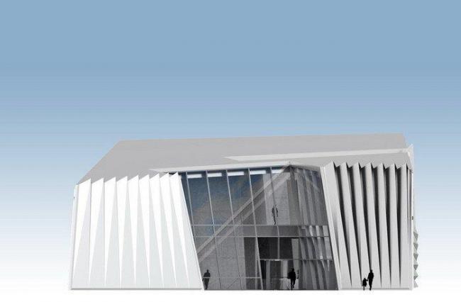Музей искусств Эли и Эдит Брод. Восточный фасад © Zaha Hadid Architects