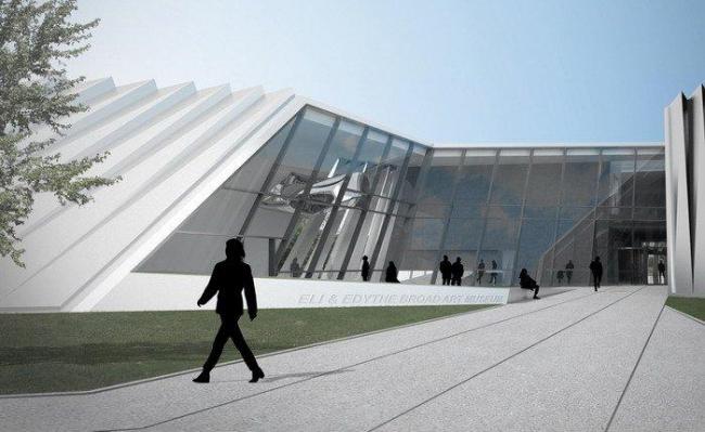 Музей искусств Эли и Эдит Брод. Двор и восточный вход © Zaha Hadid Architects