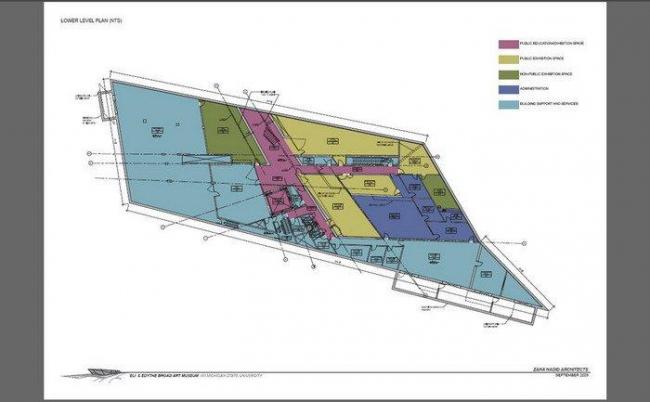 Музей искусств Эли и Эдит Брод. План цокольного этажа © Zaha Hadid Architects