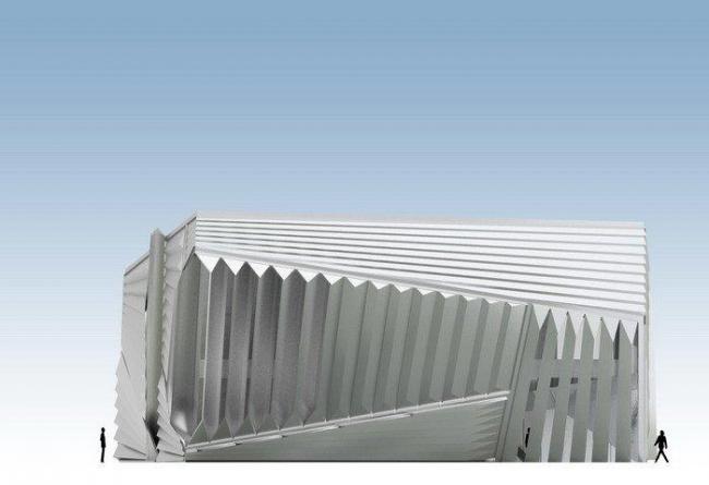 Музей искусств Эли и Эдит Брод. Западный фасад © Zaha Hadid Architects