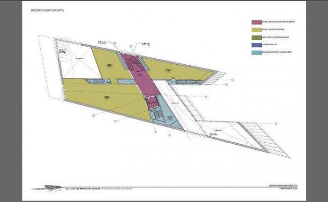 Музей искусств Эли и Эдит Брод. План 2-го этажа © Zaha Hadid Architects