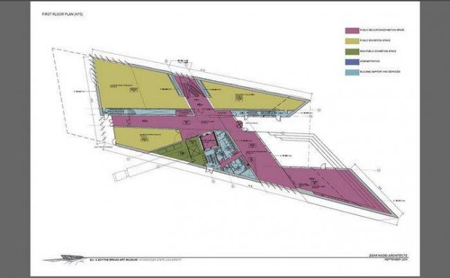 Музей искусств Эли и Эдит Брод. План 1-го этажа © Zaha Hadid Architects