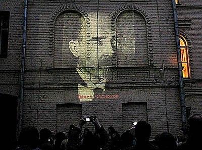 17 мая 2009, Кисловский переулок: акция в защиту дома Синодальных певчих. Фото с сайта «Архнадзор».