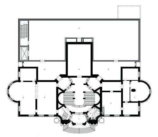 Музей Леопольда Хеша – новое крыло. План 1-го этажа старого и нового корпусов  © Peter Kulka Architektur