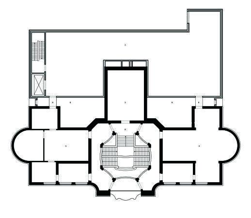 Музей Леопольда Хеша – новое крыло. План 2-го этажа старого и нового корпусов  © Peter Kulka Architektur