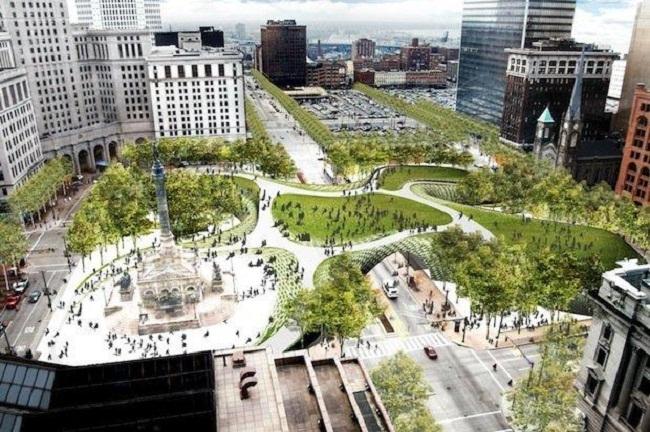 Площадь Паблик-Сквер–реконструкция. Вариант «Нить» © Field Operations