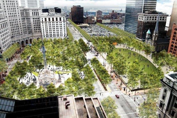 Площадь Паблик-Сквер–реконструкция. Вариант «Лес» © Field Operations