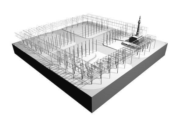 Площадь Паблик-Сквер–реконструкция. Вариант «Рама» © Field Operations