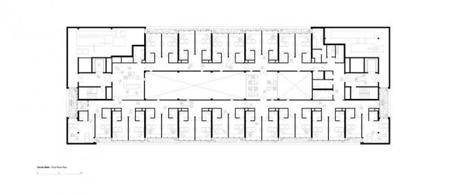 Больница CircleBath. План 2-го этажа © Foster+Partners