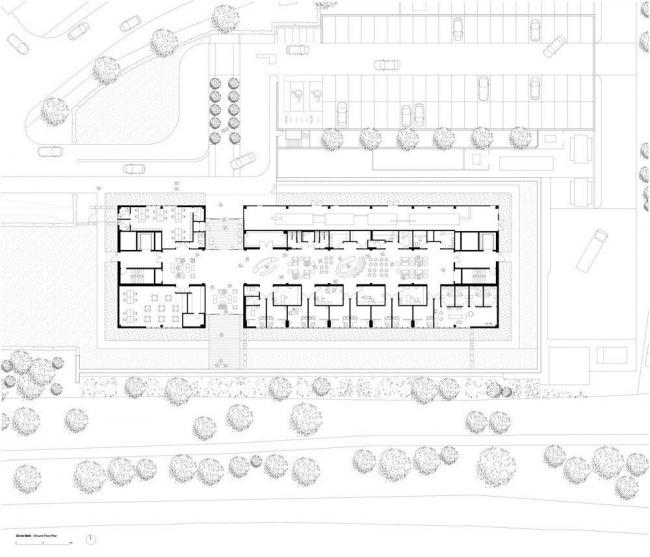 Больница CircleBath. План 1-го этажа © Foster+Partners