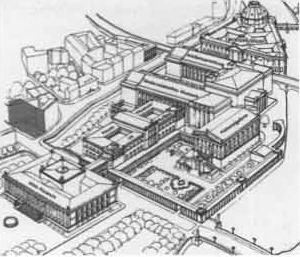 Район Музейного острова в Берлине. Здание будущей Галереи Хинтер дем Гиссхаус 1 отмечено черным
