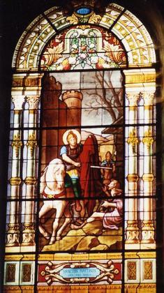 Церковь Сен-Мартен д'Арк-сюр-Тий. Витраж с эпизодом из жития Св. Мартина