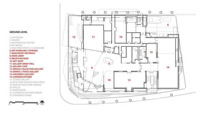Художественная галерея провинции Альберта. План первого этажа © Randall Stout