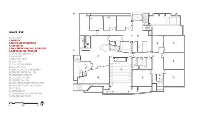 Художественная галерея провинции Альберта. План цокольного этажа © Randall Stout