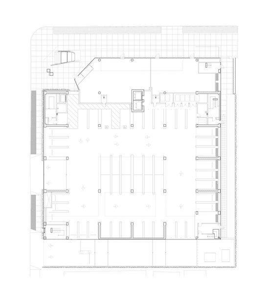 Колледж Эмерсона – центр в Лос-Анджелесе. План 1-го уровня © Morphosis Architects