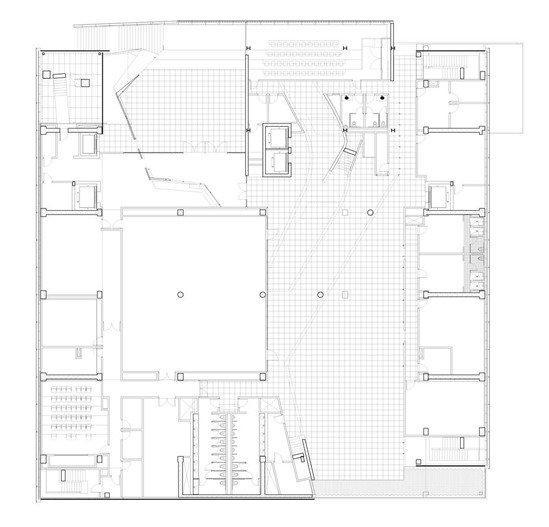 Колледж Эмерсона – центр в Лос-Анджелесе. План 2-го уровня © Morphosis Architects