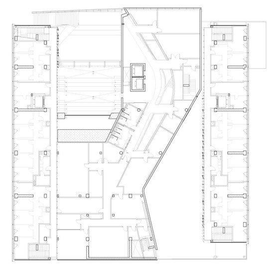 Колледж Эмерсона – центр в Лос-Анджелесе. План 3-го уровня ©  Morphosis Architects